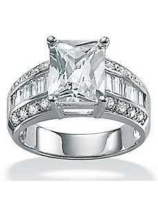 Cubic Zirconia Platinum/SS Ring by PalmBeach Jewelry