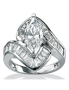 Cubic Zirconia Platinum/SS Channel-Set Ring by PalmBeach Jewelry