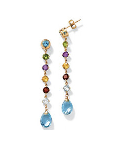 Multi-Gem 10k Gold Drop Earrings by PalmBeach Jewelry