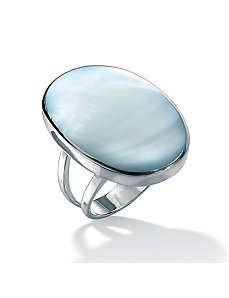 Blue Mother-Of-Pearl Silver Ring by PalmBeach Jewelry