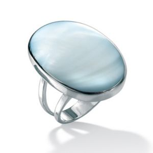 Blue Mother-Of-Pearl Silver Ring