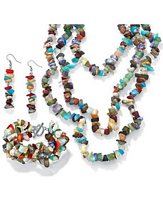Genuine Multi-Stone Nugget Set by PalmBeach Jewelry
