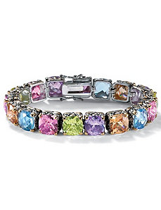 "Multi-Colorcubic zirconia Bracelet 71/4"" by PalmBeach Jewelry"