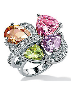 Multi-Colorcubic zirconia SS Ring by PalmBeach Jewelry