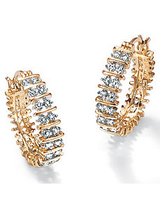 Dia. Acc. 18k/SS Hoop Earrings by PalmBeach Jewelry