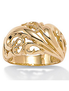 18k/SS Gold Dome Ring by PalmBeach Jewelry