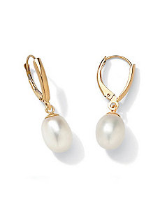 18k/SS Pearl Gold Earrings by PalmBeach Jewelry