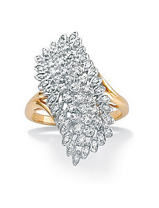 Diamond Cluster 18k/SS Ring by PalmBeach Jewelry