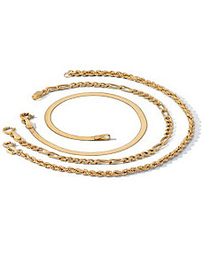 3-Piece 18k/SS Anklet Set by PalmBeach Jewelry