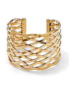 "Lattice Cuff Bracelet 7 1/2"" by PalmBeach Jewelry"