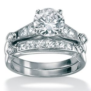 2-Piececubic zirconia Platinum/SS Bridal Set