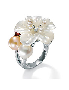 Mother-Of-Pearl SS Flower Ring by PalmBeach Jewelry