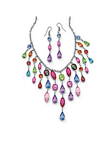 Crystal Necklace & Earring Set by PalmBeach Jewelry