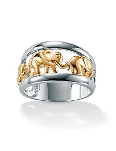 Silver Tutone Elephant Ring by PalmBeach Jewelry