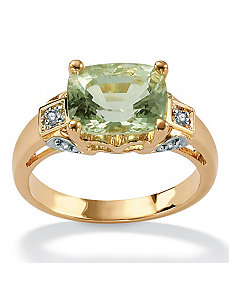 Green Amethyst 18k/SS Ring by PalmBeach Jewelry