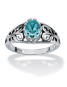 Antiqued Silver Birthstone Ring by PalmBeach Jewelry