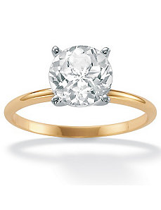 White Topaz 10k Gold Solitaire Ring by PalmBeach Jewelry