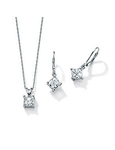 Cubic Zirconia Platinum/SS Fashion Set by PalmBeach Jewelry