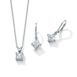 Cubic Zirconia Platinum/SS Fashion Set