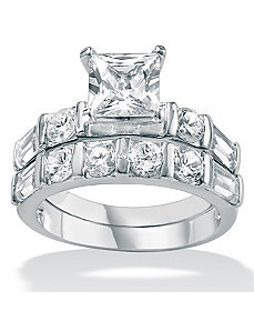 Cubic Zirconia Platinum/SS Wedding Set by PalmBeach Jewelry