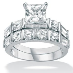 Cubic Zirconia Platinum/SS Wedding Set