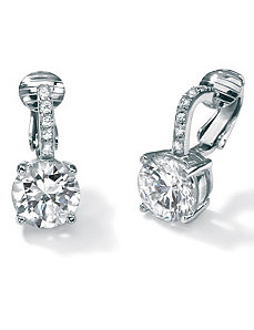 Cubic Zirconia Platinum/SS Clip-On Earrings by PalmBeach Jewelry