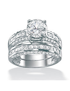 2-Piececubic zirconia Platinum/SS Ring Set by PalmBeach Jewelry