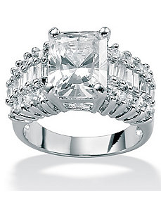 Cubic Zirconia Platinum/SS Fashion Ring by PalmBeach Jewelry