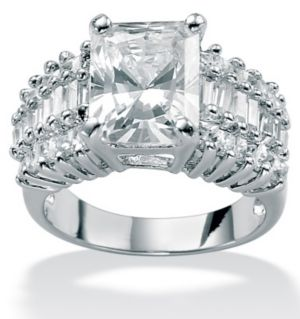 Cubic Zirconia Platinum/SS Fashion Ring