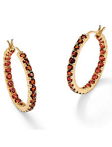 Garnet 18k/SS Hoop Earrings by PalmBeach Jewelry