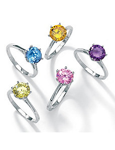 5-Piece cubic zirconia Solitaire Ring Set by PalmBeach Jewelry