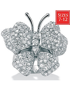 Cubic Zirconia Silver Butterfly Ring by PalmBeach Jewelry
