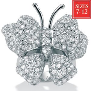 Cubic Zirconia Silver Butterfly Ring