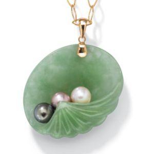 Jade/Pearl 14k Gold Pendant