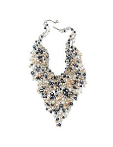 Multi-Colored Pearl Bib Necklace by PalmBeach Jewelry