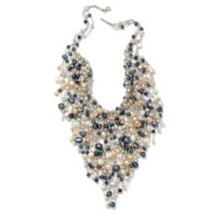 Multi-Colored Pearl Bib Necklace