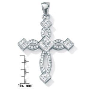 Cubic Zirconia Silver Cross Pendant