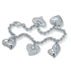 "Cubic Zirconia Heart Charm Bracelet 7 1/2"""
