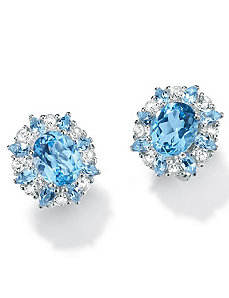 Blue/White Topaz Silver Earrings by PalmBeach Jewelry
