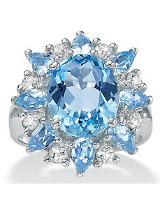 Blue/White Topaz Silver Ring by PalmBeach Jewelry