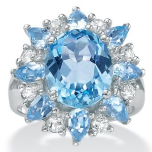 Blue/White Topaz Silver Ring