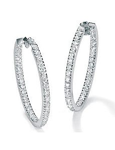 Cubic Zirconia Silver Hoop Earrings by PalmBeach Jewelry