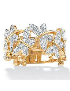 Dia. Acc. 18k/SS Butterfly Ring by PalmBeach Jewelry