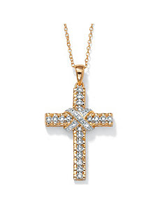 Diamond Accent 18k/SS Pendant by PalmBeach Jewelry