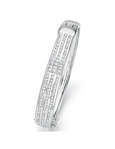Cubic Zirconia Silvertone Bangle Bracelet by PalmBeach Jewelry