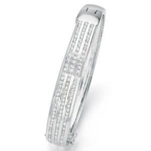 Cubic Zirconia Silvertone Bangle Bracelet
