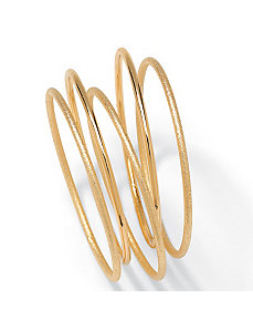"5-Piece Goldtone Bangle Set 9"" by PalmBeach Jewelry"