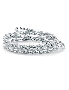 "5-Piece Silvertone Bangle Set 9"" by PalmBeach Jewelry"