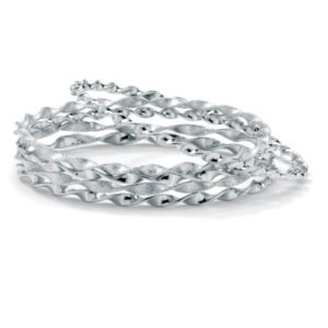 5-Piece Silvertone Bangle Set 9""