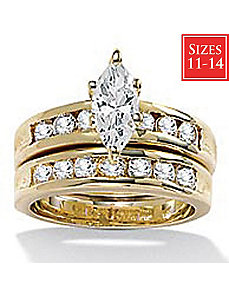 2-Piece cubic zirconia Wedding Ring Set by PalmBeach Jewelry